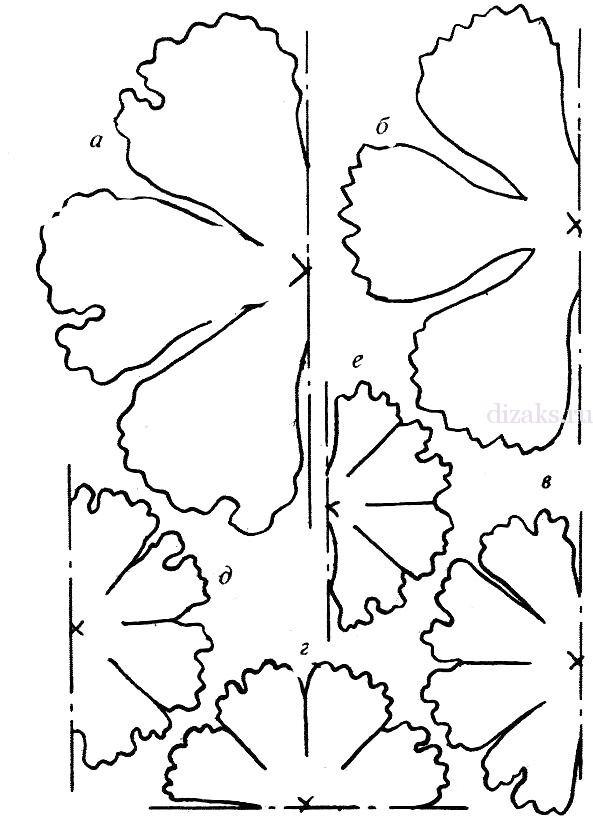 выкройка цветов из ткани