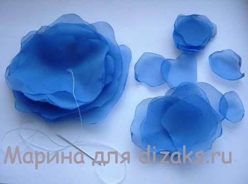 цветок пион из ткани