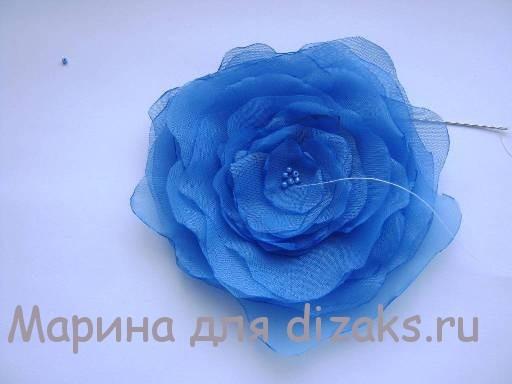 цветок из ткани пион