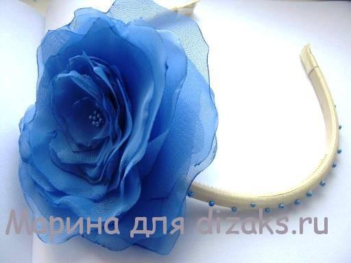 ободок и цветок из ткани своими руками