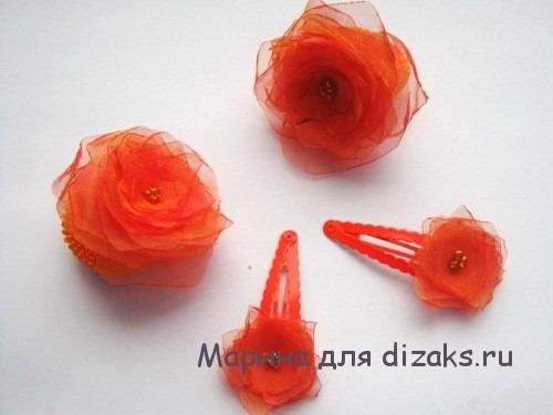 заколки и резинки для волос с цветком из ткани