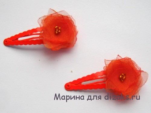 заколки для волос с цветами из органзы