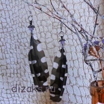 серьги из перьев в этно стиле