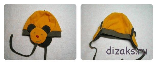 шапка для девочки с мишкой
