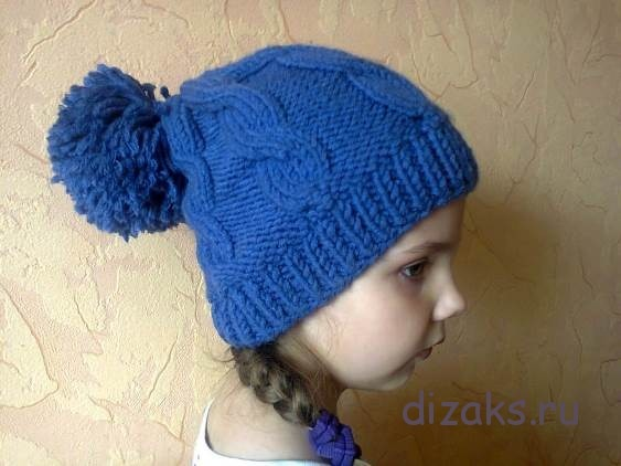 шапка с помпоном спицами