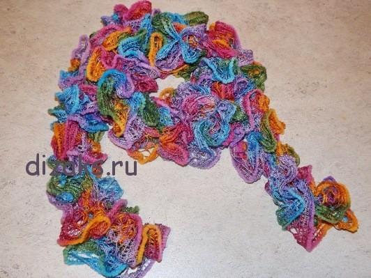 шарф из ленточной пряжи