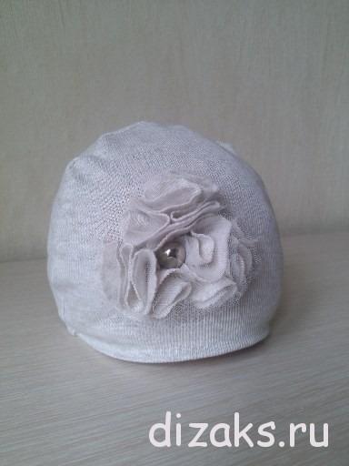 детская шапочка из трикотажа своими руками с цветком из ткани