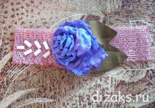 повязка с цветком пион из ткани