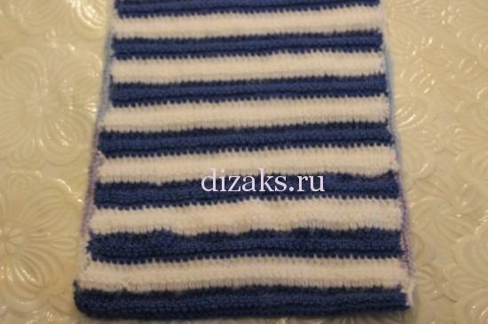 как связать шарф крючком в полоску