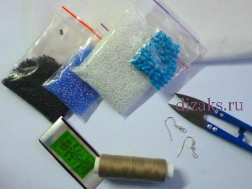 серьги подвески из бисера материалы