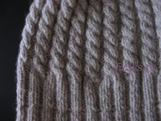 шапка косами с отворотом