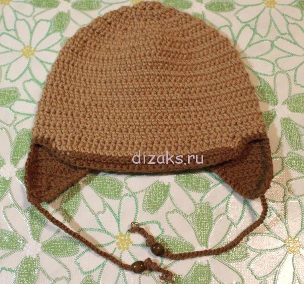 вязаная шапка с ушками крючком