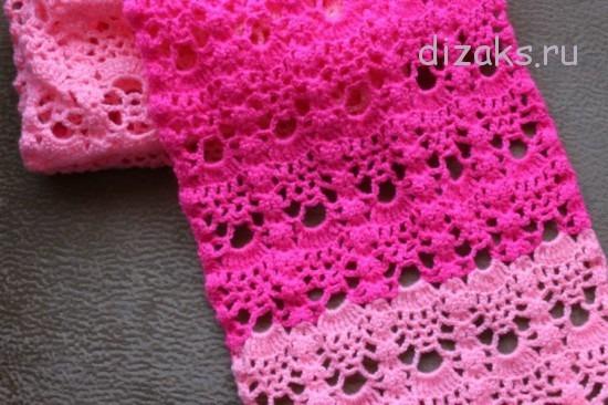 ажурный шарф крючком с полосами