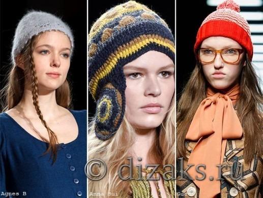 вязаные шапки мода 2015-2016