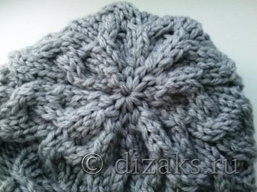 макушка вязаной шапки