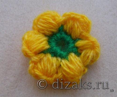 вязаный цветок из пышных столбиков