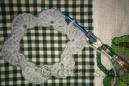первый ряд вязания митенок крючком