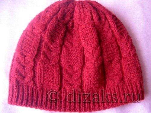 Двойная шапка с комбинированными косами