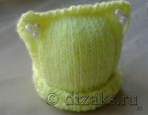 шапка с кошачьими ушками спицами