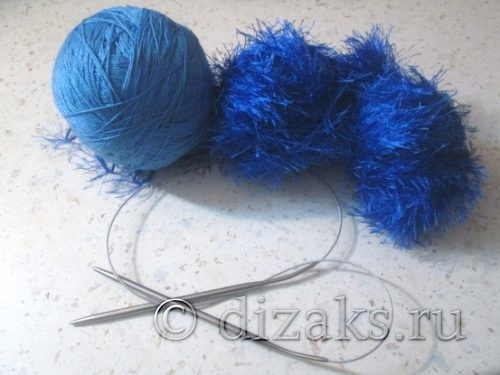 нитки и спицы для вязания снуда