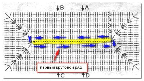 Схема вязания прямоугольника крючком