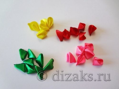 лепестки канзаши для цветов