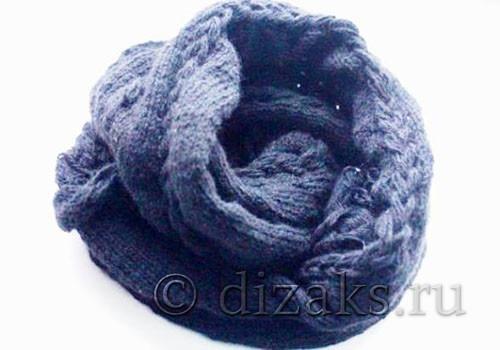 Красивый шарф-хомут с объемными косами