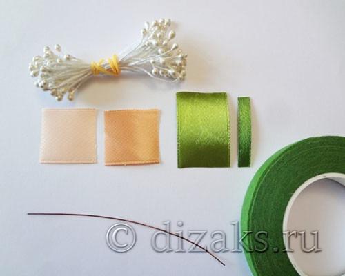 Материалы для свадебного ободока с чайными розами канзаши