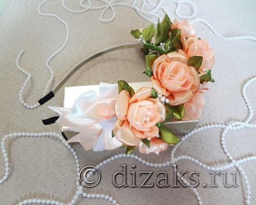 свадебный ободок с чайными розами канзаши