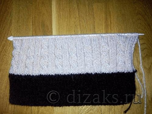 вязание спицами полотна шапочки
