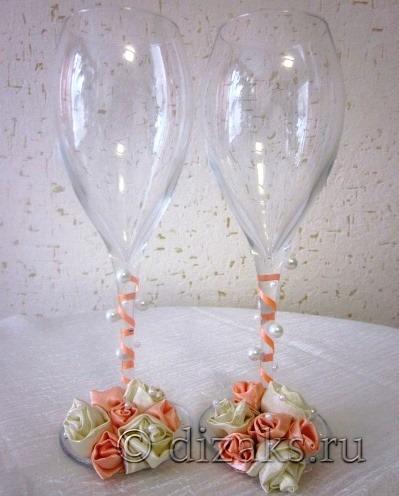 украсить бокалы для свадьбы