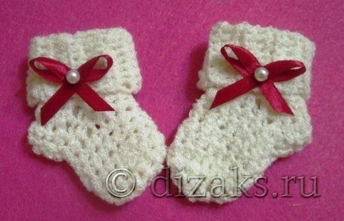 простые носочки крючком для новорожденного