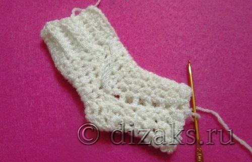 вязание стопы носка крючком