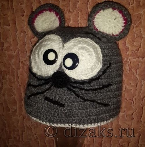 Мульт-шапка «Мышка» крючком