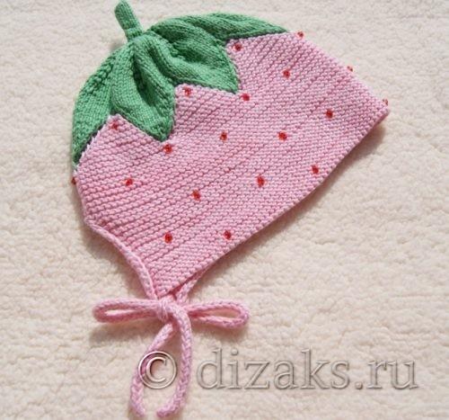 детская шапочка клубничка с завязками