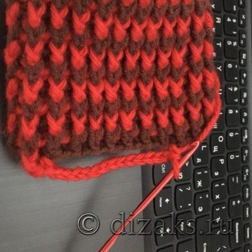 вязание отверстия для большого пальца