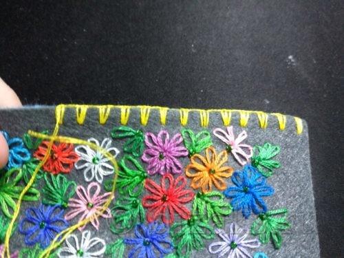 выполнение сшивания сторон клатча