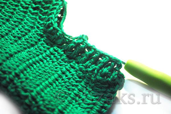 вязание резинки носка