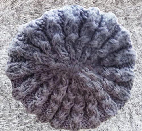 стянуть петли на макушке шапки
