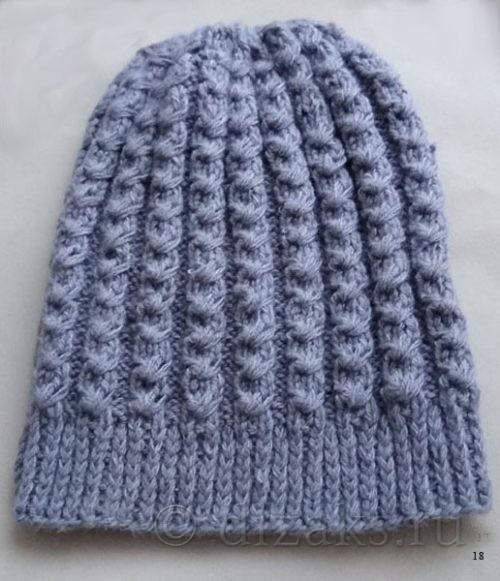 шапка-чулок с узором спицами