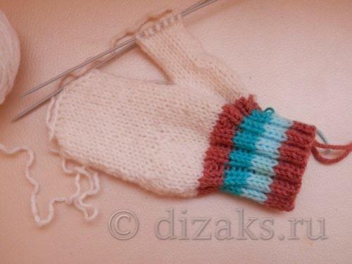 вязание большого пальца на варежке
